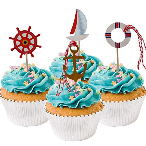 HUIANER Nautical Theme Cupcake Picks Cupcake Toppers Food Fruit Picks for Decoration, 48 -