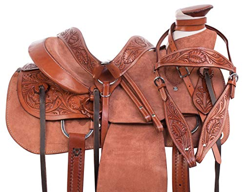 - AceRugs Heavy Duty Wade Tree Rough Out Western Roping Ranch Work Leather Horse Saddle TACK Set Included (15)