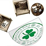 St. Patricks Day Semicircular CushionStamp Like Design Greetings for Party March 17 Lucky Shamrock Print Entry Door Mat H 78.7' xD 118.1' White and Green