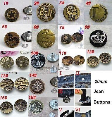 FidgetFidget 100set Vintage Antiqued Bronze Metal Pattern Brass Tack Studs Jeans Buttons 20mm 4#