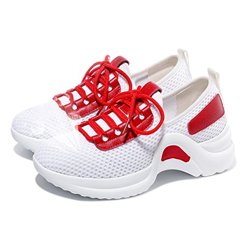 Lusam Feeling Zapatillas Para Caminar De Moda Transpirables Para Mujer Zapatillas Para Correr De Tenis Atlético Ligero Rojo