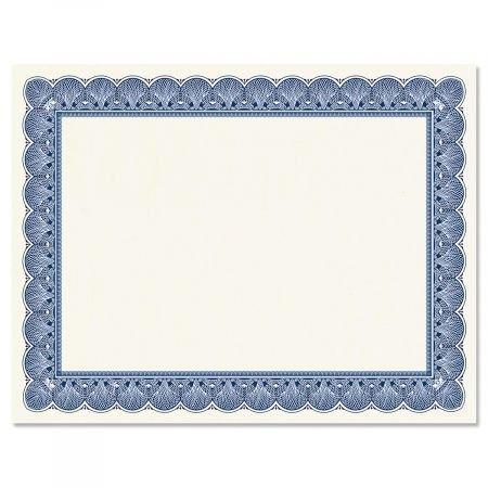 Elite Blue Certificate on White Parchment - Set of 50, 8-1/2'' x 11'' on 60 lb. Text Parchment Paper, Laser and Inkjet Printer Compatible