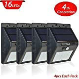 4 Pack Solar Light with Motion Sensor, CrazyFire 16 Bright LEDs Wireless Solar Powered Motion Sensor Light,Motion Sensor Ceiling Light for Outdoor Wall Garden Patio Deck Yard Driveway With Auto On/Off