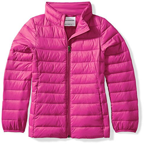 Amazon Essentials Girls' Lightweight Water-Resistant Packable Puffer Jacket, Fuchsia Purple, Large