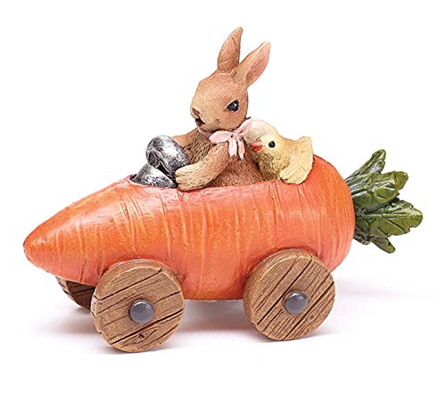 Easter Decoration Bunny and Chick in Carrot Car Figurine