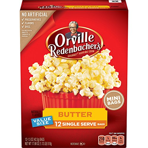 Orville Redenbachers Butter Popcorn  Single Serve Bag  12 Count  Pack Of 6