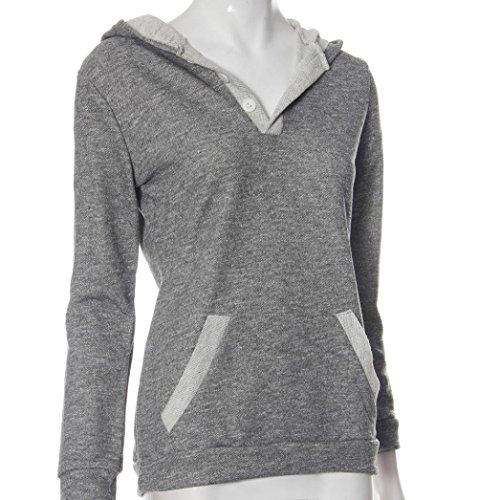 Ouneed® Gris Uni Sweat Shirt a Capuche