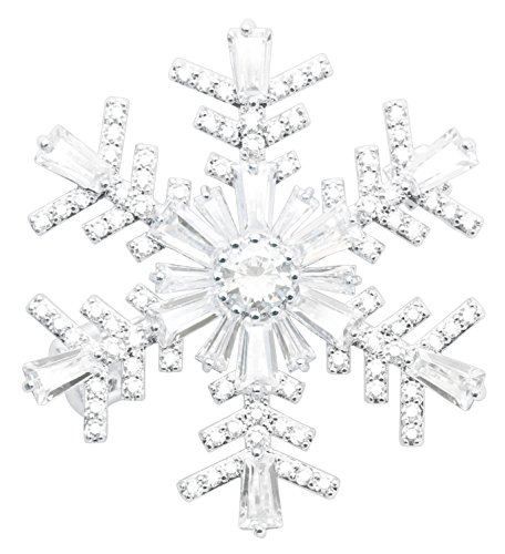 (KristLand - Wedding Elegant Mother Rose Sun Flower Brooch Pin Snowflakes Full Prong CZ Pendant Double-wear Snowflakes)