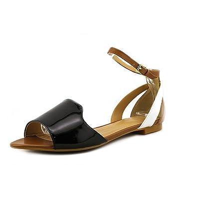 Tahari Womens francie Peep Toe Casual Ankle Strap SilverDesSan Size 75