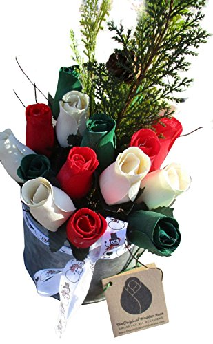 Ftd Elegant Bouquet (Christmas Metal Pail Wooden Rose Arrangement. - Red, White, Green Wooden Roses in a Festive Metal Pail - Happy Holidays Floral Décor Bouquet for your Home or Office)