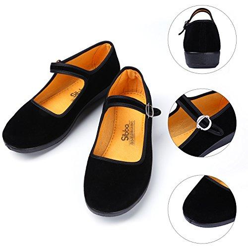 Zapato Bailarinas con Correa Plataforma Mary Jane Agoldón Cómodo para Ejercicios Prácticas Yoga Kongfu