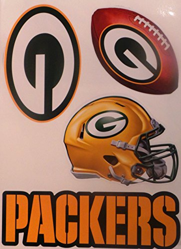 (Green Bay Packers Team Set of 4 Packers Logo Helmet Football Sign - Official Removable and Re-Usable NFL Vinyl Wall Graphics 15