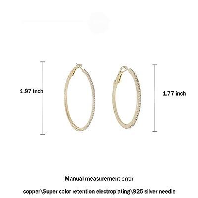 silver earrings hoops with pendants Zirconia Stones 925 Silver golden earrings Oval Drop Hoop earrings Marrakech 18K Gold Plated