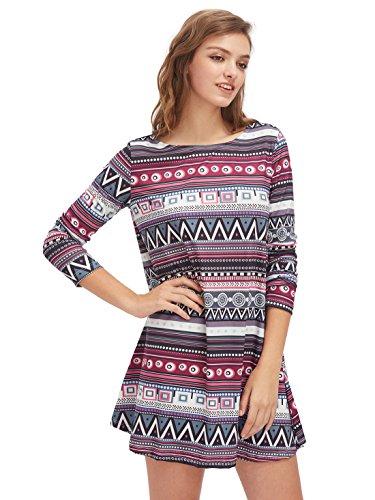 Long Sleeve Printed Tunic Dress (OEUVRE Plus Size Womens Boho Dress Ethnic Printed Long Sleeve Mini Tunics 3XL)