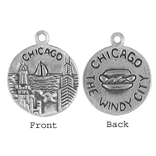 Sterling Silver Chicago Illinois Double Sided Travel Disk Charm Item #46584 (Charm Chicago Pandora)