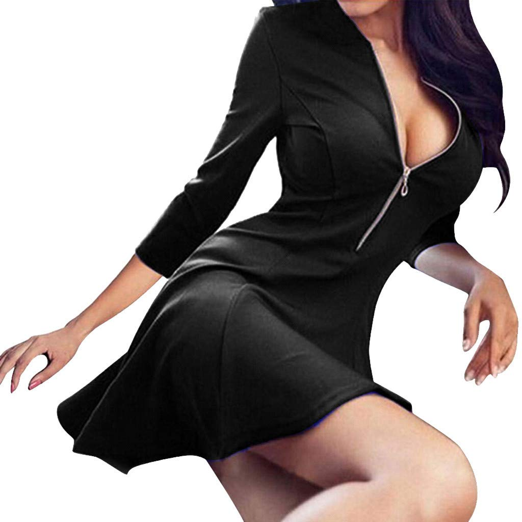 GIFC Fashion Women Long Sleeve V Neck Zipper Loose Casual Evening Party Dress