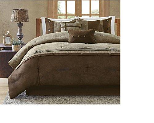 7 Piece Wovenカラーブロックデザイン布団セットクイーンサイズ、featuring美しい素朴な水平線Plushピンタックパターン快適寝具、Contemporary Cozy寝室装飾、ブラウン、タン B074TC4XS1