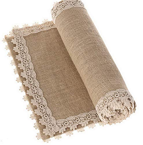 - Kaputar 12x72 Inch Burlap Cream Lace Hessian Table Runners Jute Thanksgiving Decor Rustic Country Barn Decoration Farmhouse Decor | Model WDDNG -676 | 6FT