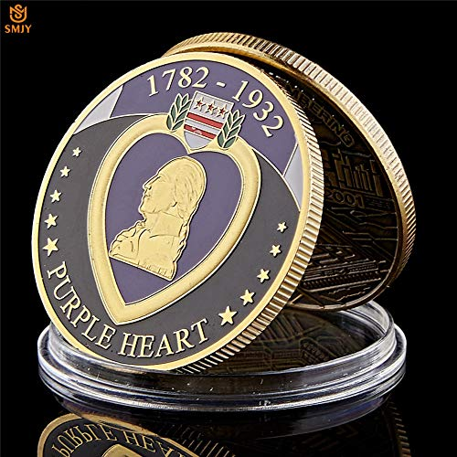 Momoso_store 1782-1932 USA Purple Heart Medal for The Military Merits Gold Plated Challenge Commemorative Coins, repilica Toys