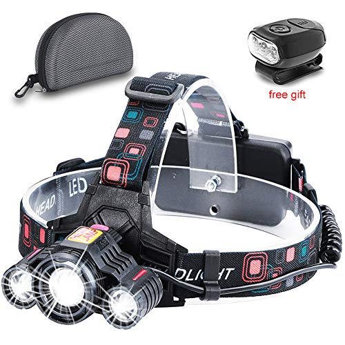 - Zoomable Headlamp Flashlight, 18650x2 USB Rechargeable Battery Headlamp-6000 Lumen Brightest 3 LED Lamps Work Headlight, 4 Lighting Modes IP54 Waterproof Headlamp for Camping, Hiking, Hunting Outdoors