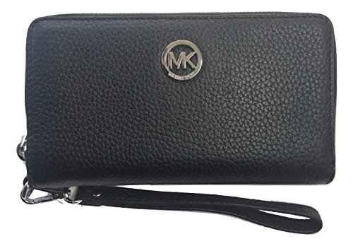 Michael Kors Fulton Large Flat Multifunction Leather Phone Case (Black with Silver Hardware) by Michael Kors