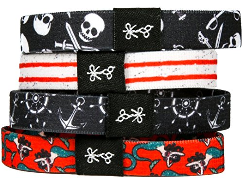 Superior, No-Rip, No-Slip Hair Ties for All Hair Types | 'The Jolly Rogers' Pirate Collection (Jolly Type)