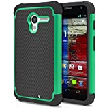 Moto X Case, MagicMobile Rugged Hard Impact Resistant Shockproof Double Layer Cover Armor Shield Shell and Soft Flexible Silicone Skin [ Color: Gray - Turquoise ] [Compatible Only with Motorola Moto X (Model 2013) ]