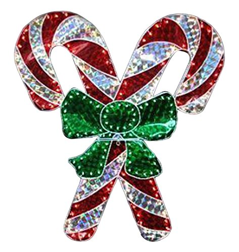 LB International 48'' Holographic Lighted Double Candy Cane Christmas Yard Art Decoration by LB International