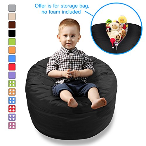 BeanBob Stuffed Animal Storage Bean Bag Chair In Black   2ft Large Fill U0026  Chill Space Saving Toy Organizer For Children   For Blankets, Teddy Bears,  ...