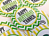 12 - Stickers - Oregon Ducks Football Happy Birthday Collection - Lime Green Chevron, Yellow Stripes & Black and White Accents - Party Packs Available
