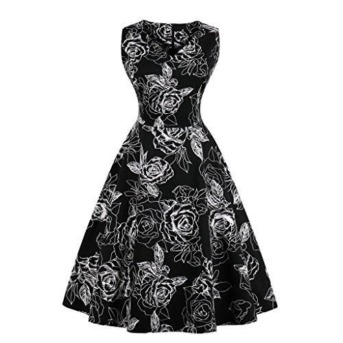 MeOkey Damen Retro Vintage Blumenkleid Hepburn Partykleider ...