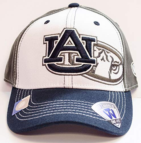 Top of the World NCAA Licensed Auburn Tigers White and Gray One-Fit Baseball Hat Cap
