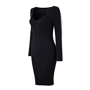 1b0d06e9ef9 Women Ladies Deep V Neck Striped Long Sleeve Slim Fit Ribbed Knit Sweater  Dress Super Soft