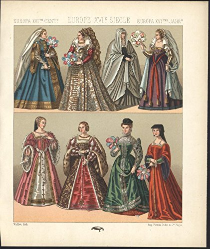 Europe Colorful Ornate Ball Dress c.1880 antique color chromolithograph print