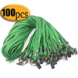 Green lanyards with Clip 100PCS 33-Inch Green Lanyard Bulldog Clip Bulk Badge Lanyards by Bulk Office Neck Flat Cotton Lanyard with Badge Clip Green for id Badges