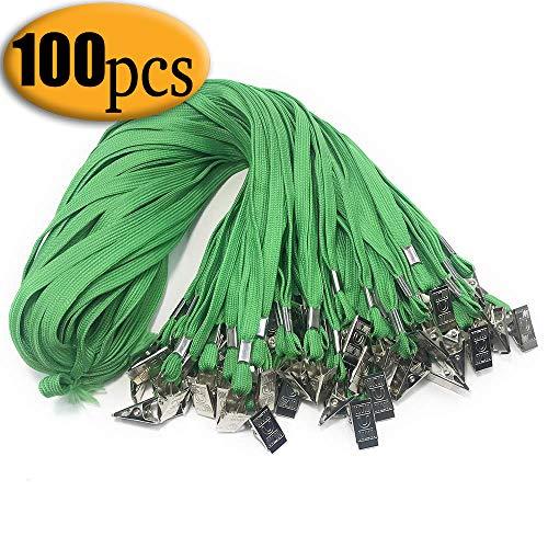 Green lanyards with Clip 100PCS 33-Inch Green Lanyard Bulldog Clip Bulk Badge Lanyards by Bulk Office Neck Flat Cotton Lanyard with Badge Clip Green for id Badges -