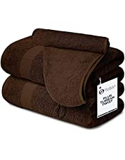 Terry Bath Sheet Set of 2 Plus Hair Towel Wrap for Women Brown Set 35x70 Inches,100% Cotton 600 GSM Absorbent Soft Oversized Extra Large Luxurious Hotel & Spa Quality Jumbo Bathroom Towels