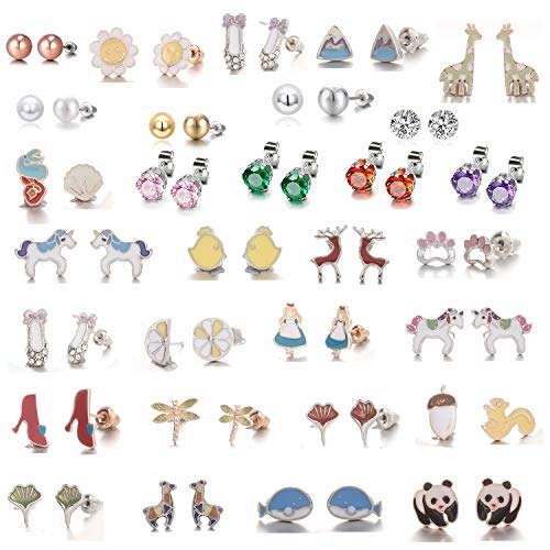 30 Pairs Assorted Multiple Pack Animal Dog Crystal CZ Studs Fashion Lovely Cute Panda Ballet Shoes Bowknot kid Stud Earrings hypoallergenic Jewellery Set Gift for Teens Girl (30 pairs panda Ballet)