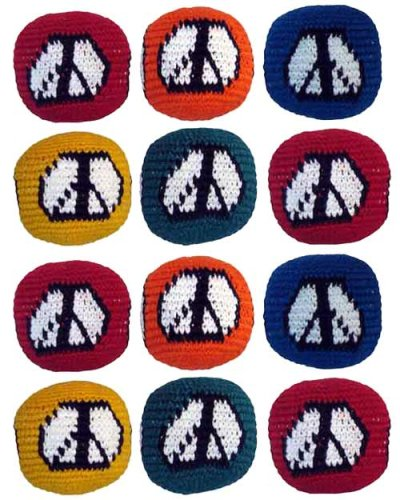 Set of 12 Hacky Sacks - Peace Sign by Turtle Island Imports
