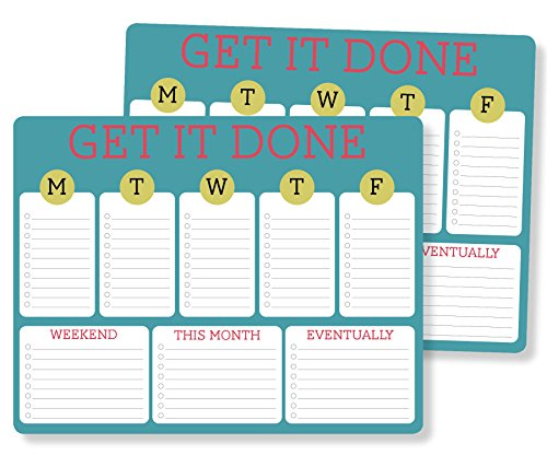 2 pack Weekly Planner Mouse Note Pad, Multi Featured tabs for all your daily tasks with motivational message: GET IT DONE, Beautifully designed with full rich colors on great smooth rounded paper