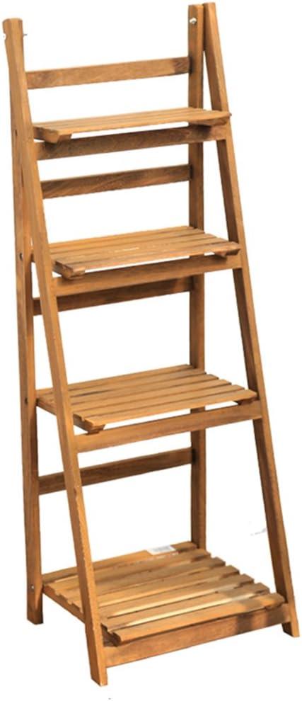 Escalera de 4 niveles Racks de madera Escalera de madera Plegable de madera Estante para maceteros de flores Reposeras de estilo Country Rack de jardín Estante de almacenamiento para interior o exteri: