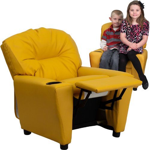 Contemporary Yellow Vinyl Kids Recliner with Cup Holder
