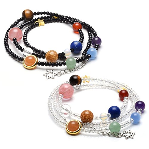 Jovivi Natural Multilayer Solar System Bracelet Universe Galaxy The Nine Planets Star Spacer Glass Beads Necklace