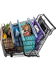 Lotus Trolley Bags -w/ LRG COOLER Bag & Egg/Wine holder! Reusable Grocery Cart Bags sized for AUSTRALIA. Eco-friendly 4-Bag Grocery Tote.100% Qlty GUARANTEE