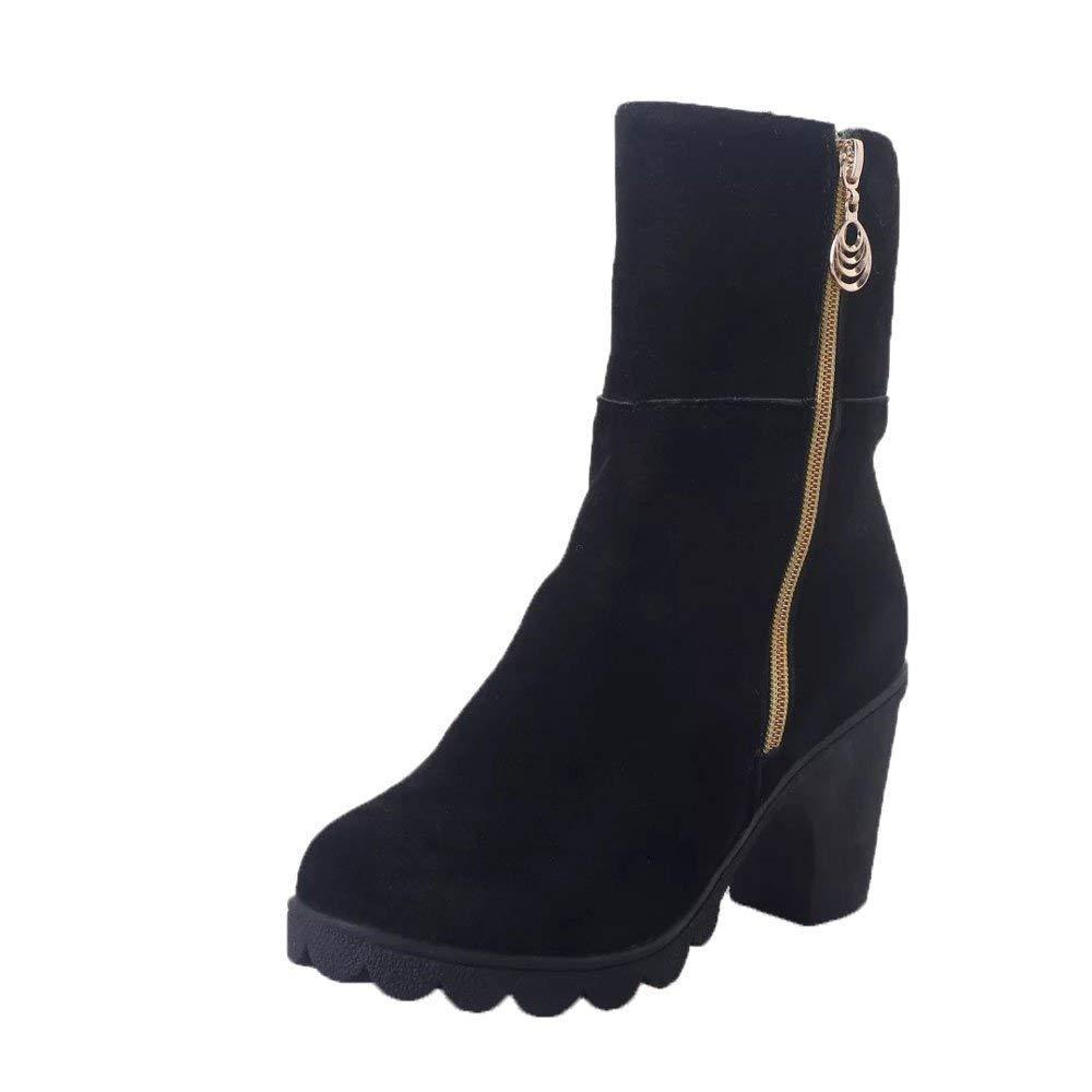 ZHRUI Stiefel Damen Schuhe Damenstiefel High Heel Halb Stiefeletten Winter Martin Schuhe Warm Stiefel Schuhe Klassische Freizeitschuhe Stiefel Wildlederstiefel (Farbe   Schwarz Größe   39 EU)