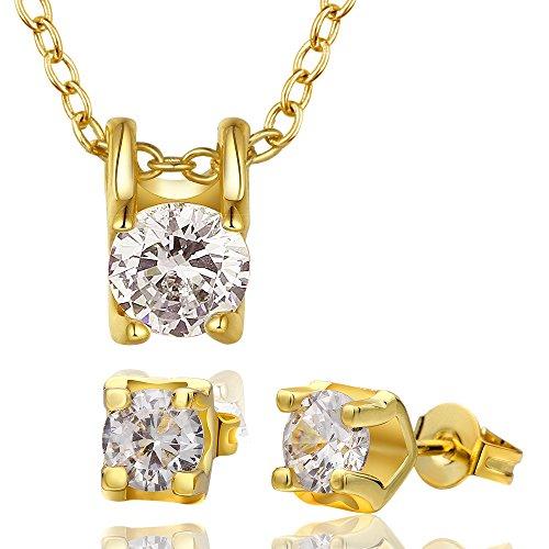 YLR chapado en oro cristal redondo brillante Zircon joyería colgante Neckalce pendientes niñas conjuntos de las mujeres, dorado, dorado