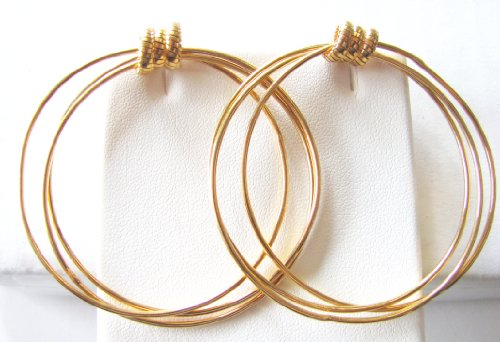 Glamorous 14k Gold Overlay Triple Hoop Earrings with Push Back (14k Gold Overlay Hoop Earrings)