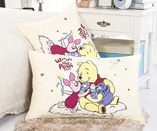 Cotton Winnie The Pooh Sheets (Ln 2 Piece Kids Cute Yellow Winnie the Pooh Pillowcases Set, Adorable Disney Bear Pillow Cases Piglet Wini Characters Flowers Red Pink Purple Green, Cotton)
