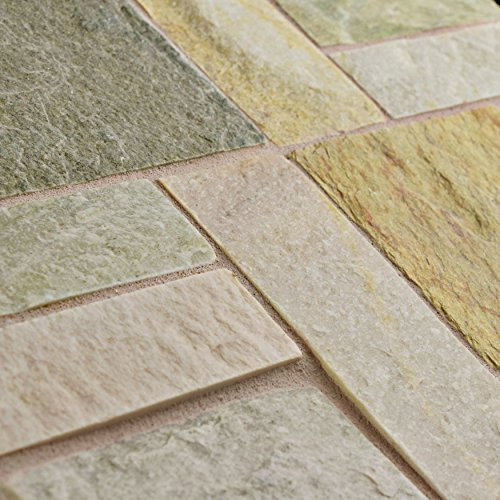 SomerTile SCRPTQA Cliff Patchwork Arizona Quartzite Natural Stone Mosaic Floor and Wall Tile, 12'' x 12'', Grey/Brown/Beige/Orange by SOMERTILE (Image #4)