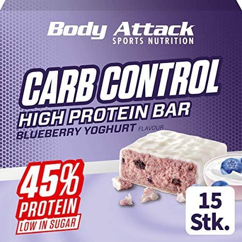 Body Attack Carb Control, Proteinriegel ohne Zuckerzusatz, Low Carb – High Protein, Eiweißriegel mit Whey, auch in der Mix-Box (Blueberry Yoghurt, 20 x 100g)